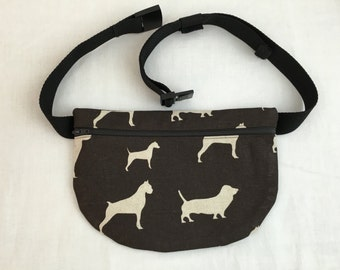 Brown Dogs Flat Fanny Pack, Waist Bag, Hip Pouch
