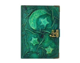 Moon and Stars on Green Refillable Real Leather Journal/Vintage Look/Diary/Journal Diary/Sketchbook/Handmade/Persian Paper