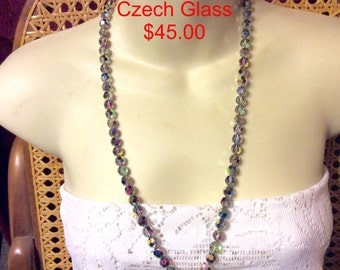 Czech glass beads aurora borealis necklace.