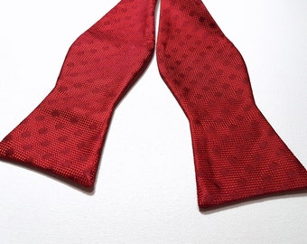Self Tie Bowtie in Modern Solid Tonal POLKA DOTS with Apple Cherry red
