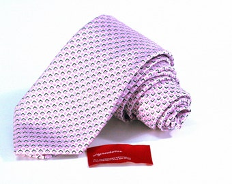 Tie (3 inch wide) in Pink and Black on Silver Grey