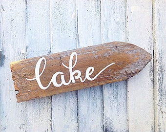 Lake decor directional reclaimed wooden sign-hand painted pure white