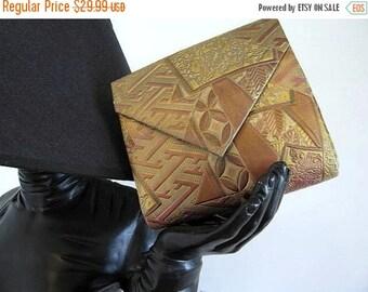 Love Sale 25% off Metallic Clutch Purse / Vintage 80s 3D Metallic Clutch Bag / Copper Gold Bronze / 80s Collage print envelope clutch