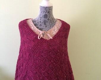 Hand knit poncho-women very soft poncho-lightweight wrap-burgundy poncho-merino wool poncho-cozy warm poncho-Fall Poncho-Burgundy Wrap