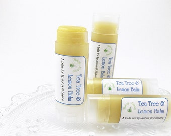 Natural Lemon Balm Tea Tree lip balm a balm for lip sores and blisters