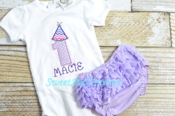 Personalized 1st (First) Birthday  Outfit Purple - Lavender/purple first Birthday outfit - Birthday Hat design! Birthday shirt
