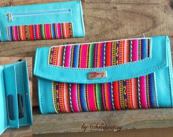 South American Ethnic Peru genuine fine leather hand made wallet handwoven traditional textile fabric turquoise creme beige ecrue colourful