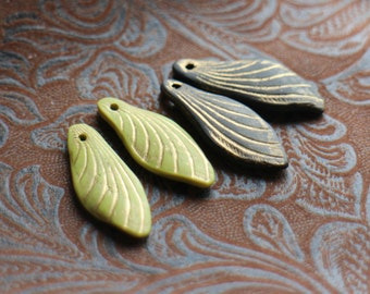 Two pairs of wing beads, polymer clay art beads, chartreuse and black with gold, lime green insect wing art beads