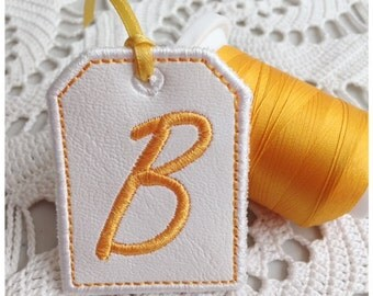Machine Embroidery Design | Tag Letter B | Instant Download