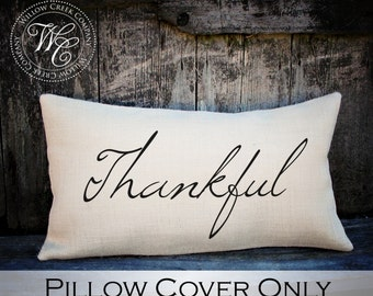Thankful Burlap Pillow, Thanksgiving Pillow Cover, Fall Pillow, Thanksgiving Home Decor
