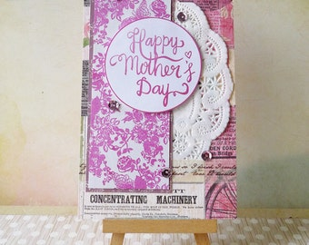 Handmade Layered Mother's Day Card - Purple Floral