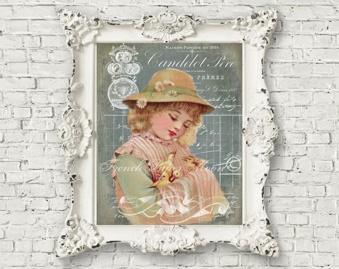 Digital Victorian Girl with Chicks,  French Typography, French Easter Transfer Image, Pillow Download Image