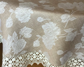 Tablecloth Round Linen Tablecloth Linen Lace Jacquard Beige 70 inches Reversible