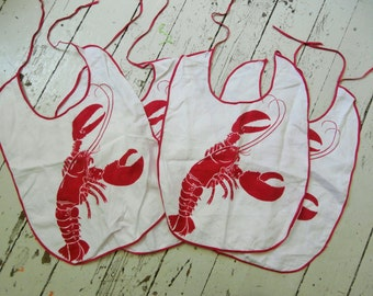 1950's, Cotton, Lobster Bibs, Set of Four