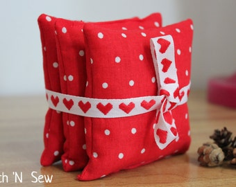 Valentine balsam fir sachet pillow set
