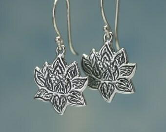 Sterling Silver Lotus Earrings – Sterling Silver Earrings Lotus Jewelry – Sterling Silver Dangle Earrings – Lotus Sterling Dangle Earrings