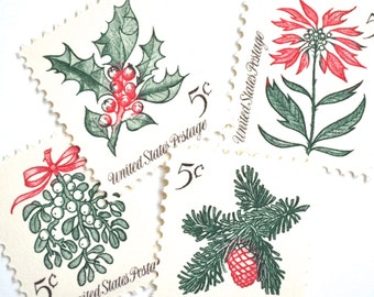 12 Unused Vintage 1964 Christmas Postage Stamps // Holly // Mistletoe // Poinsettia // Evergreen Pinecone // Stamps for Mailing