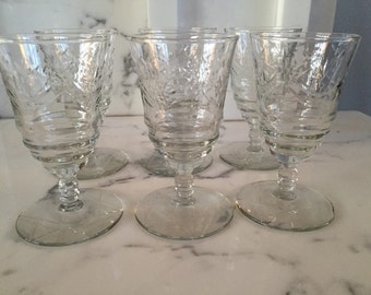 Set of Six Etched Cordial Glasses