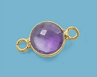 10 ea. Tiny 6mm Amethyst and Vermeil Bezel Connecor Link Birthstone
