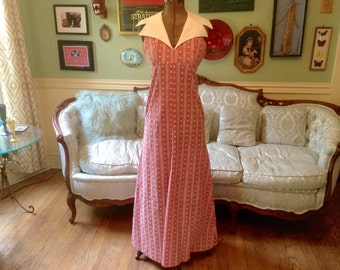 1970s Halter Maxi Dress Red White Gingham Sz S / Vintage Maxi Dress / Halter Dress