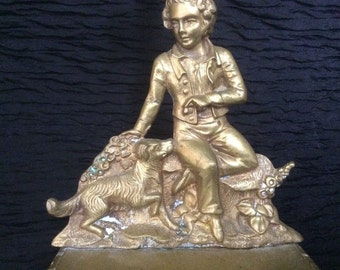 Vintage Brass Candlestick. A Boy And His Dog. Over A Pound