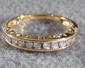 Vintage 10 K Yellow Gold 10 Round Diamond Wedding Wide Band Stacker Style Ring, Size 6    **RL