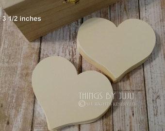 Ivory Wish Heart, Bride Groom Advice Heart, 100 Die Cut Paper Heart, 3 Inch Paper Heart (3x3.5) Wedding Shower, Wish Heart, Bucket List