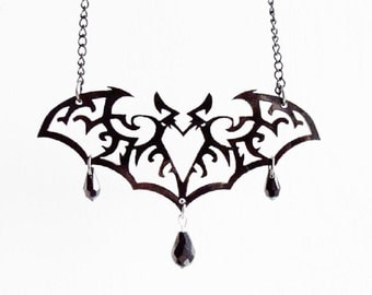 Ornate bat necklace
