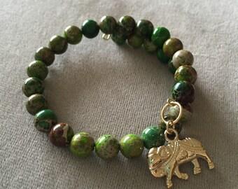 Jasper Memory Wire Bracelet with Elephant Charm