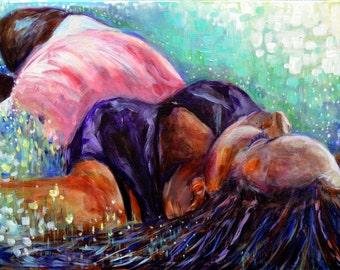 16x20 Original Acrylic Painting on Canvas.  Motherhood, pregnancy original art.