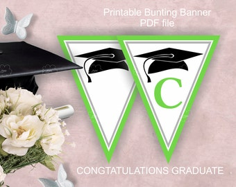 Green Graduation Party Garland, printable, PDF files,  congratulations graduate,  grade cap image, download
