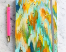 colorful hand painted journal notebook 5.75x8.25 in with gold leaf flecks. abstract art. painted notebook. colorful notebook