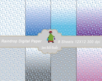 Raindrop Digital Paper 12x12  Blue Rain Drop Gray Pink Purple Scrapbooking Paper J144