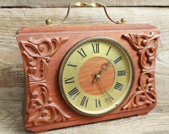 Vintage Soviet  USSR mechanical Table Clock Vesna ... wooden mantel clock ... working order ... rare clock ... antique table clock