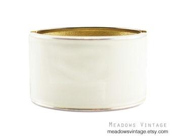 White Enamel Bracelet, White and Gold Bracelet, Wide White Bracelet, White Clamper Bracelet, White Hinged Bracelet, Chunky White Bracelet