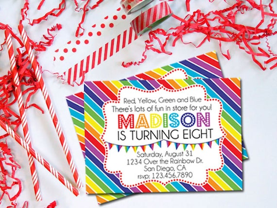 Rainbow Birthday Party Invitation, Rainbow Invitation, Over the Rainbow Party Birthday Invitation, Wizard of Oz Birthday Invitation