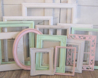 Girls  Nursery Decor / Shabby Chic Frames / MInt, Pink, White, and Light Gray / Gallery Wall Frames /  Peyton Collection