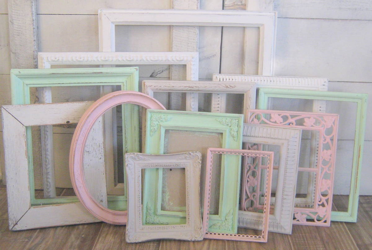 girls nursery decor shabby chic frames mint pink white and light gray gallery wall. Black Bedroom Furniture Sets. Home Design Ideas