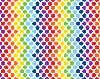 Rainbow spots on cotton lycra jersey knit fabric - UK seller