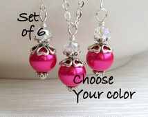 Set Of 6 Hot Pink Necklaces And Earrings. Bridesmaids Jewelry. 6 six Jewelry Sets. Flower Girl Jewelry. Hot Pink Pearl Jewelry Pink Wedding