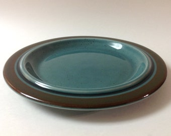"Arabia Finland ""Meri"" Salad, Side Plate, Ulla Procope, Vintage Teal, Brown Mid Century Scandinavian, Danish Modern Salad Plate"