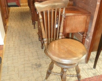 Piano stool chair with back by Charles Parker Co.  Ball & claw feet