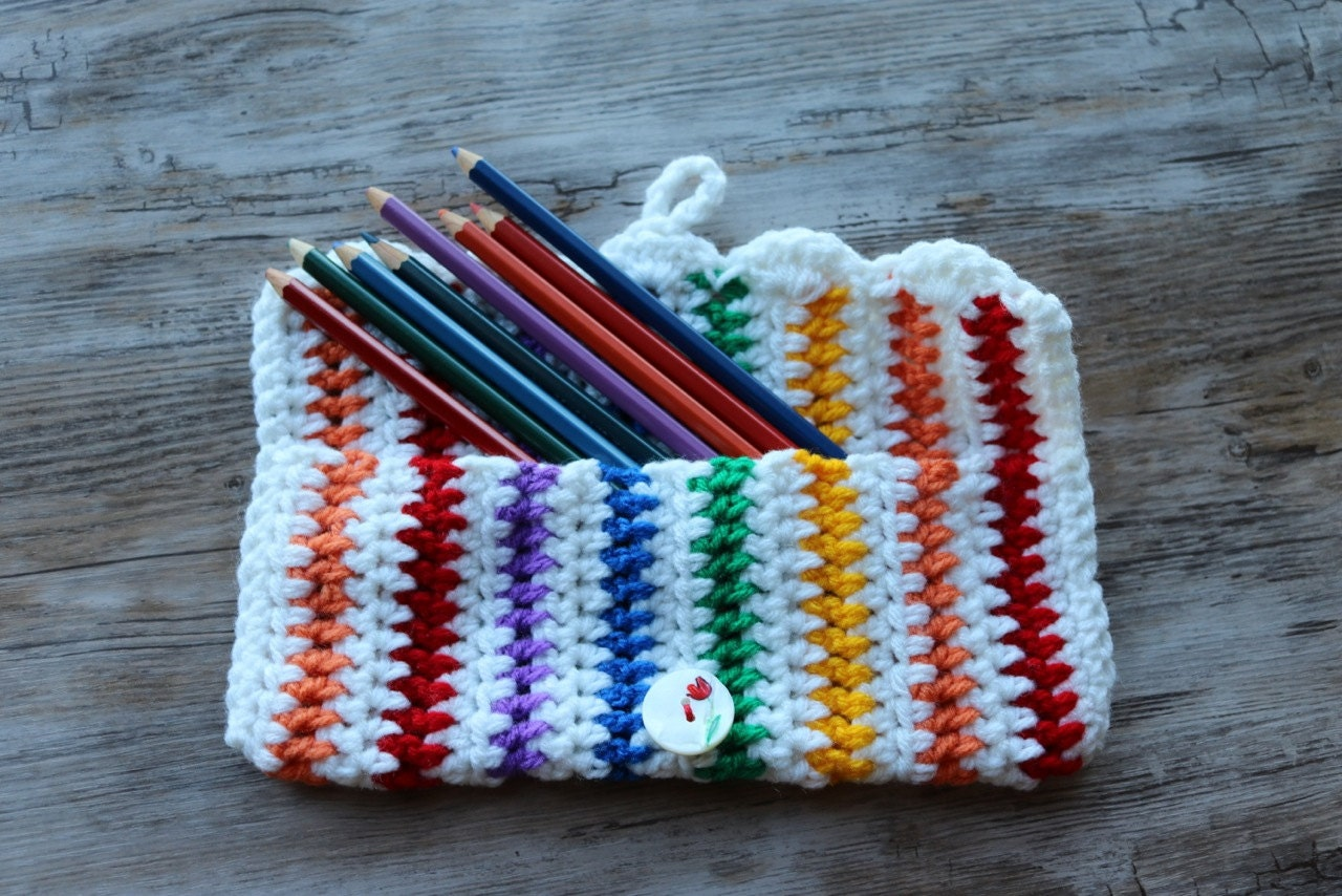 Crochet Pencil Case by KameaCreations on Etsy