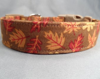 Autumn Dog Collar Fall Leaves on Brown