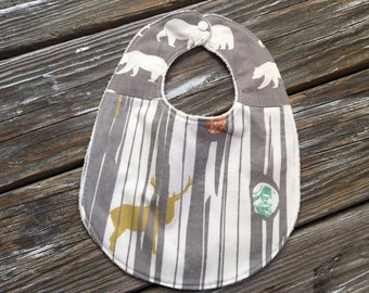 ORGANIC Bib ~ Two Toned/Quilted ~ Woodland//Trees//Elk//Forest//Deer//Bear//Camp//Hike//River