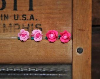 Light Pink or Dark Pink Soft Resin Flower Stud Earrings!