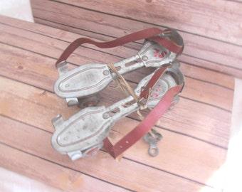 Vintage metal Roller Skates; kids skates with original key and straps;