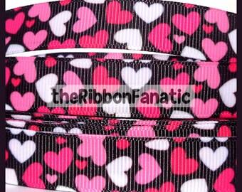 "5 yds 5/8"" Pink Hot Pink Shocking Pink Hearts on Black Valentine's Day Grosgrain Ribbon"
