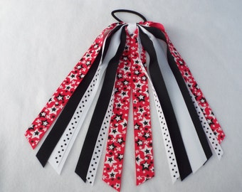 Pink with Black and White Stars Ponytail Streamer