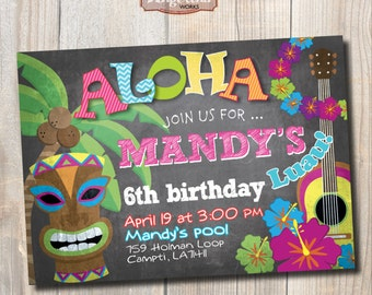Luau Birthday Invitation. Hawaiian party. Chalkboard. DIY card. Digital Printable Card